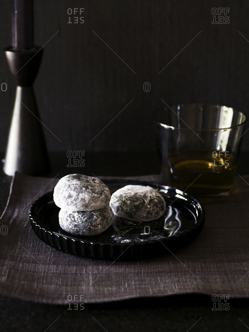 Mochi from azuki bean, covered with confectioner's sugar.