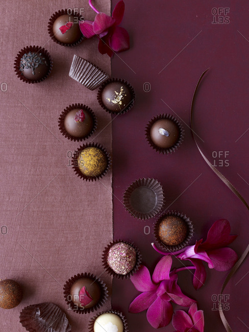 Sweet chocolate treats in wrappers
