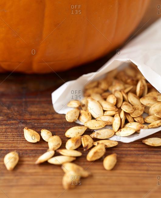 Seasoned pumpkin seed pile