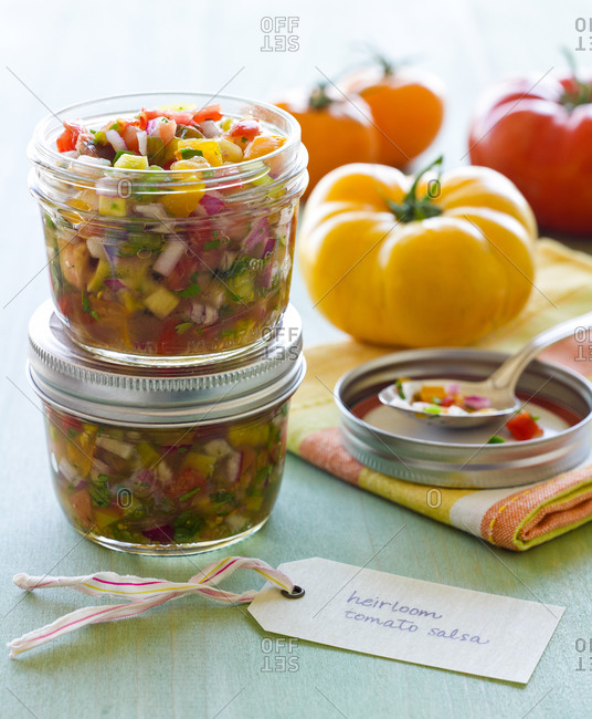 Colorful Heirloom Tomato Salsa in Canning Jars