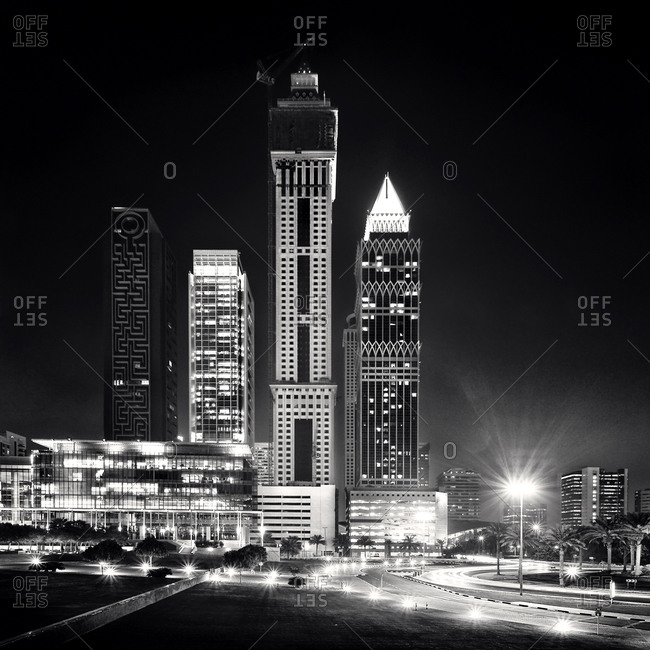 Black and white Dubai nightscape in United Arab Emirates