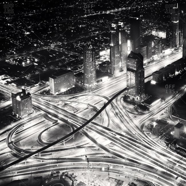 Nightscape in Dubai from above