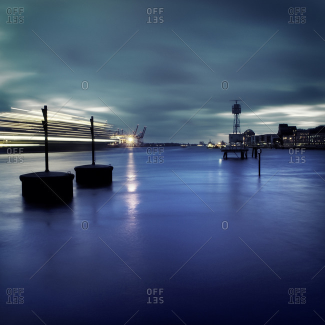 Nightscape image of Hamburg Harbor