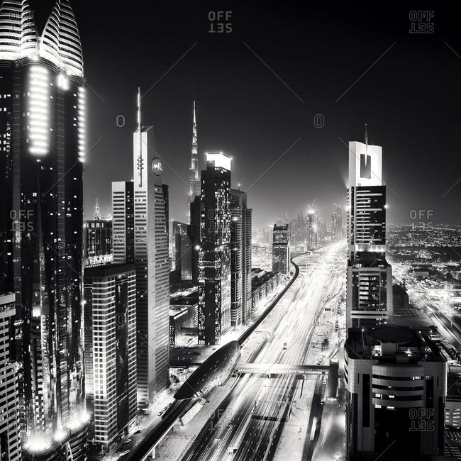 Sheikh Zayed Road at night in Dubai, United Arab Emirates