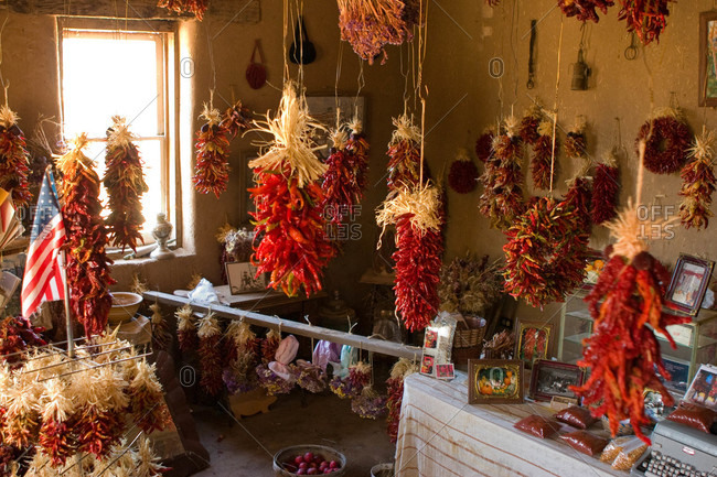 Chiles hang in a store