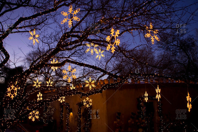Christmas decorations hang along Canyon Road in Santa Fe, New Mexico