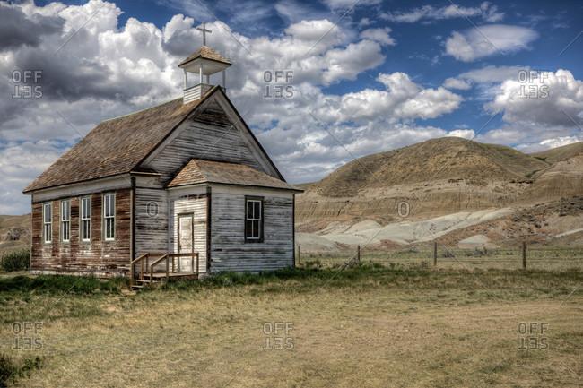 The abandoned Catholic church in the Alberta badlands at Dorothy