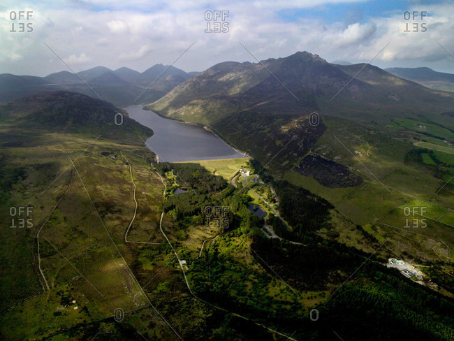 Aerial view of Silent Valley Reservoir in the Mourne Mountains