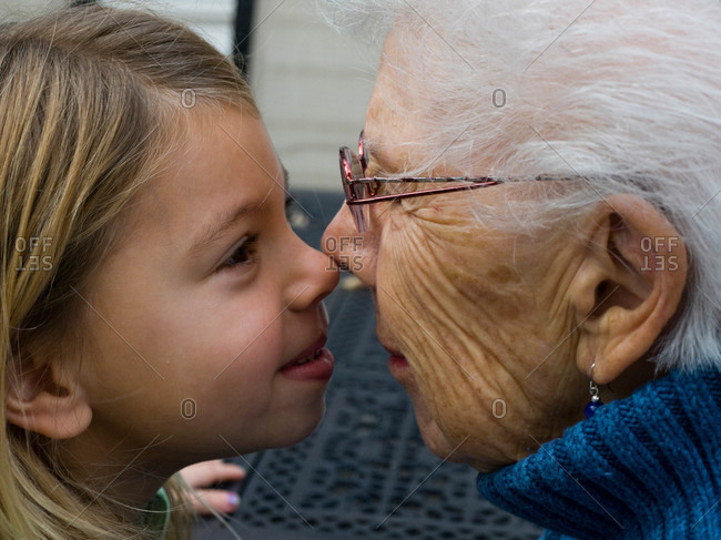 A little girl with her  great grandmother