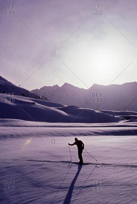 Cross country skier in Warwan Valley