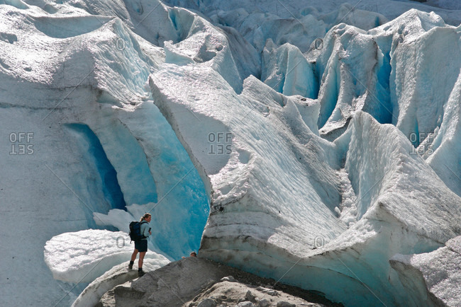 Tourists climbing glacier, Jostedalsbreen, Norway