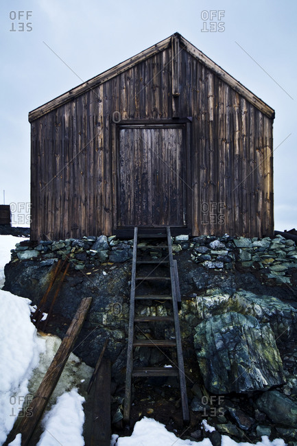 Weathered ruins of an abandoned Antarctic scientific research station