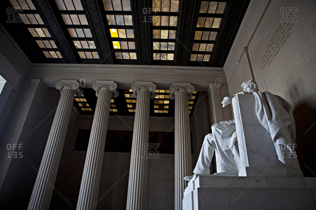 The statue of Abraham Lincoln looks out over the Mall in DC