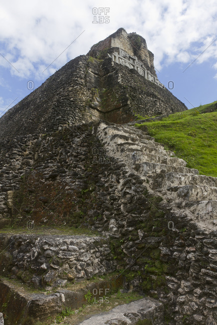 """Weathered stone steps lead up to Xunantunich's """"El Castillo"""""""