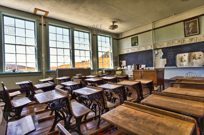 An antique classroom in a ghost mining town.