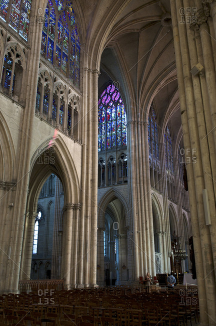 Interior of the Gothic Troyes Cathedral