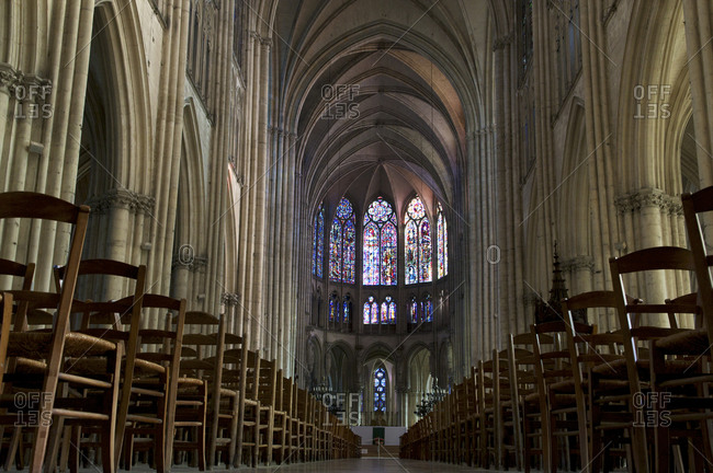 Interior of the Gothic Troyes Cathedral.