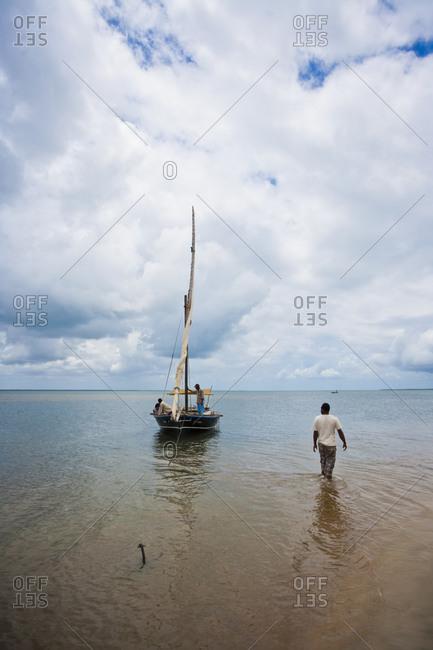 Dhows on beach in Kenya