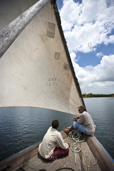 Sailing with dhow on the Indian Ocean