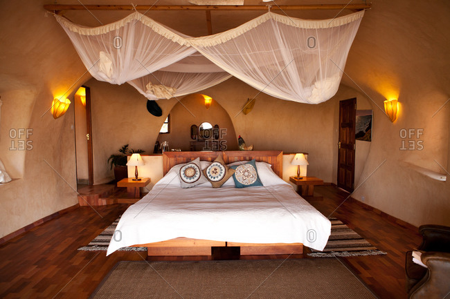 Interior of a tented camp hotel in Kenya