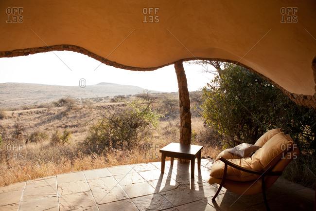 Private veranda situated at a tented camp hotel in Kenya