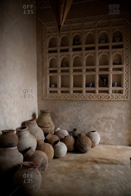 Pile of ceramic earthenware in the corner