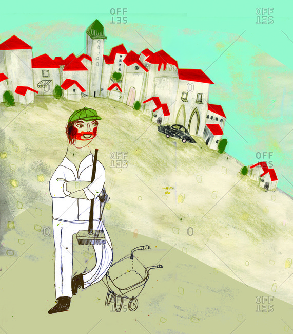 A relaxed scavenger in white dress and green cap, standing with a broom and a wheelbarrow somewhere in Italy