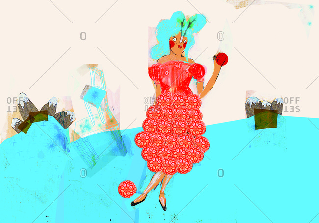 A pretty woman with blue hair and red dress holding a red ball in her hand