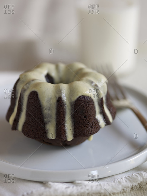 Mini dark chocolate bundt with creme anglaise