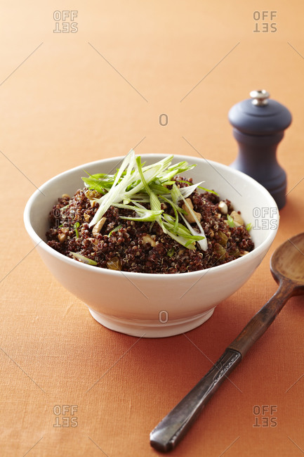 Bowl of quinoa with leek