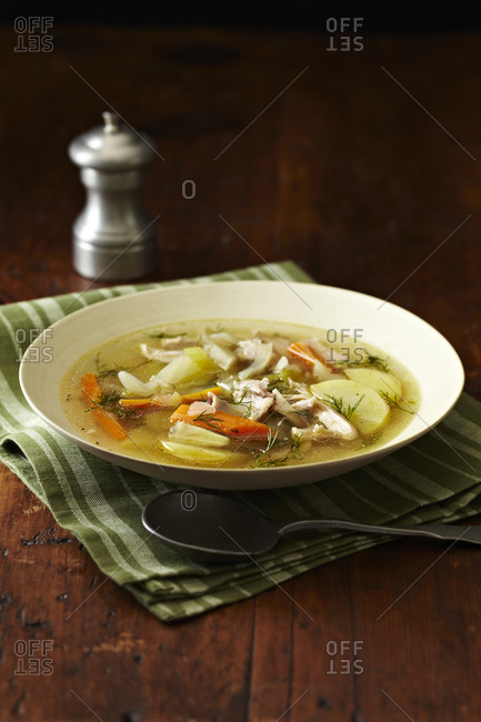 Chicken soup with potatoes, carrots and dill
