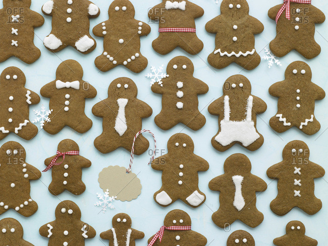 Decorated gingerbread men overhead