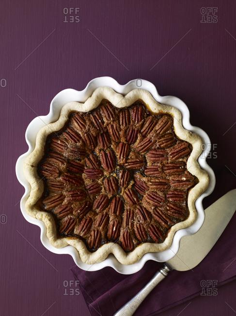 Pecan tart overhead