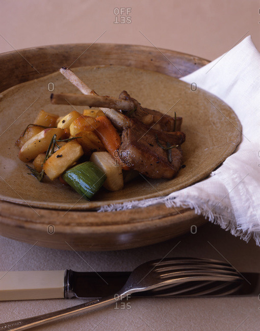 Lamb cutlets with veggies: squash, zucchini, carrots and onions