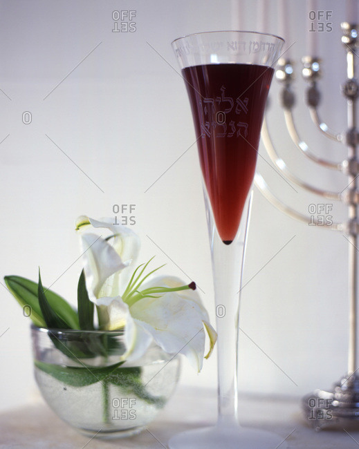 Kosher red wine served in a glass