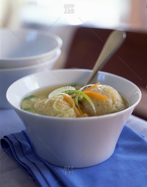 Served matzo ball soup