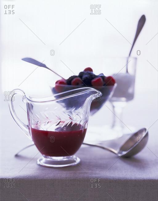 Berry puree with fresh berries