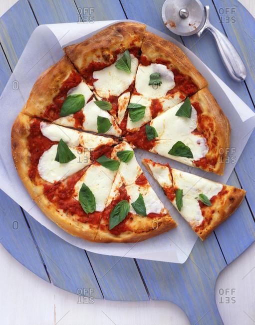 Homemade pizza margherita overhead
