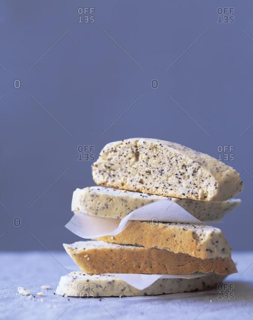 Poppy seed biscotti stack