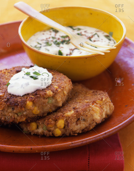 Corn Crab Cakes with Cilantro Sauce