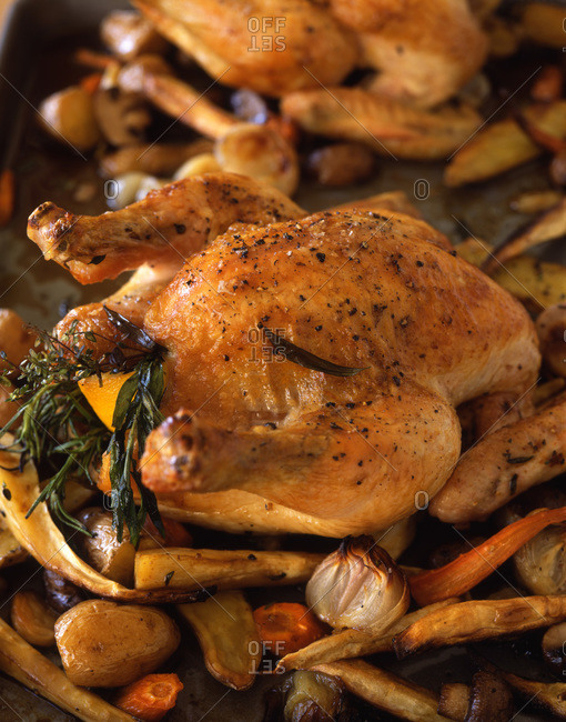 Whole grilled chicken served with picturesque vegetable side dish