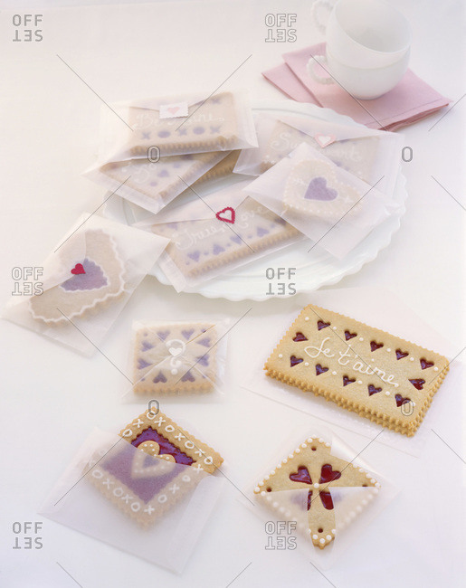 Composition with little festive cookies decorated for Saint Valentine's Day