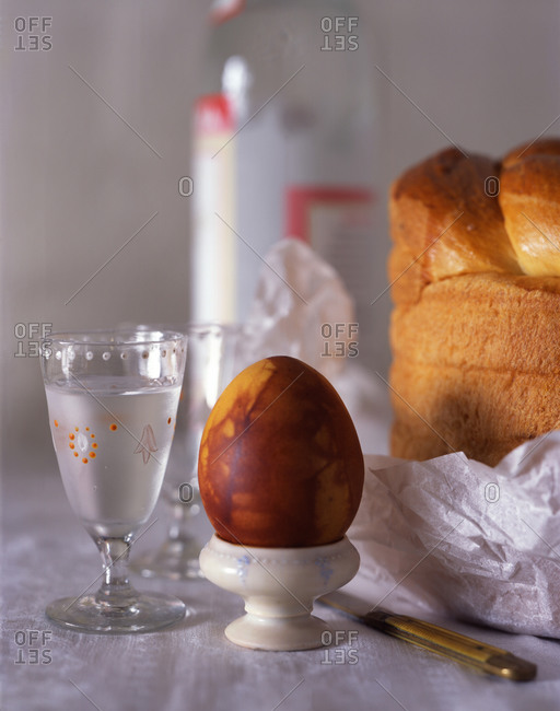 Composition with traditional Russian Easter foods prepared on the table