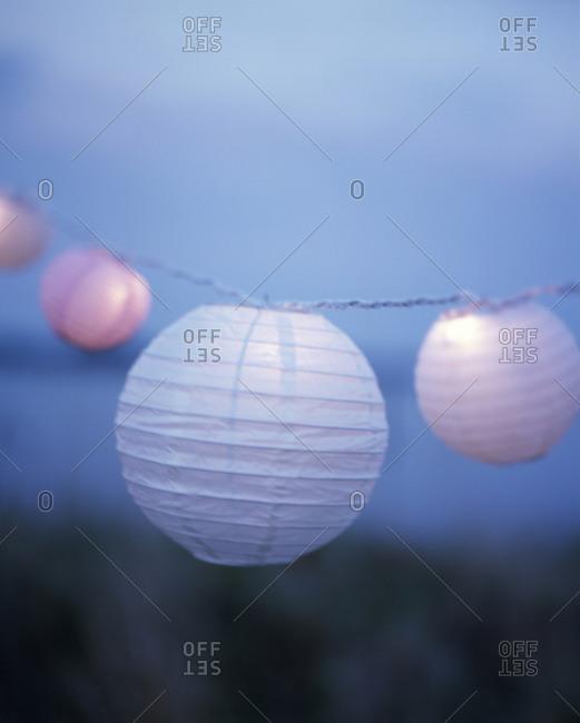 Paper lanterns hanging outdoors