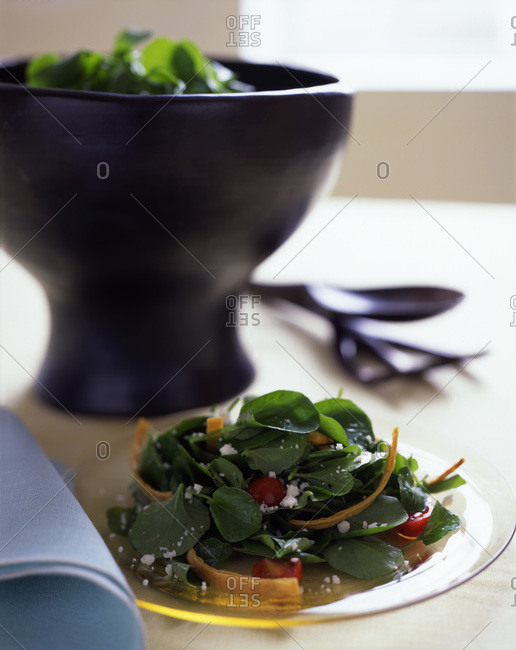 Baby spinach salad with cottage cheese and chips served on the table