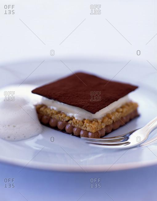 Molecular gastronomy: layered creamy dessert served with foam