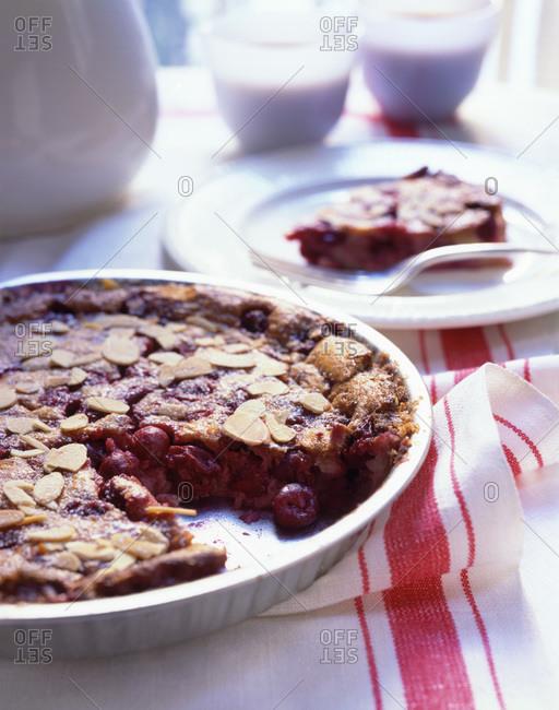 Homemade cherry tart served on the table