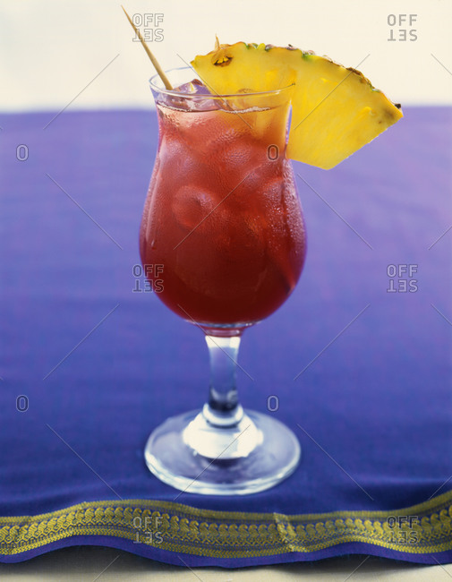 Tropical cocktail decorated with pineapple