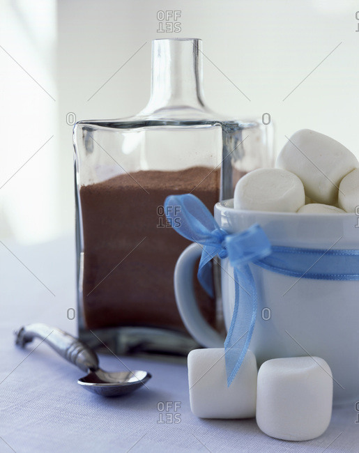 Homemade white marshmallows with cocoa powder served on the table