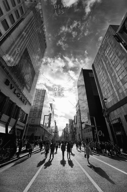 People walking around Ginza in Tokyo, Japan